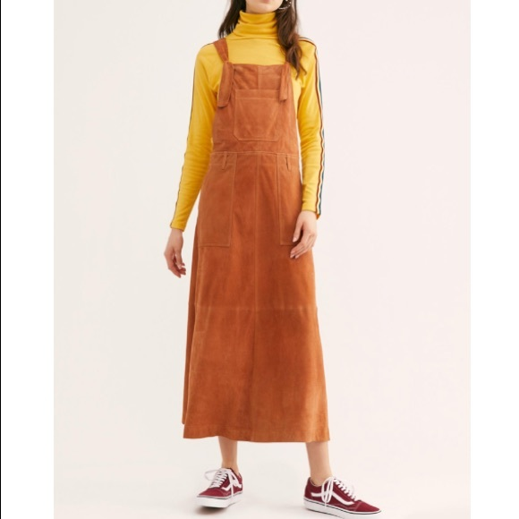 get online top brands wide selection of colors Free People leather Suede Midi Jumper dress NWT
